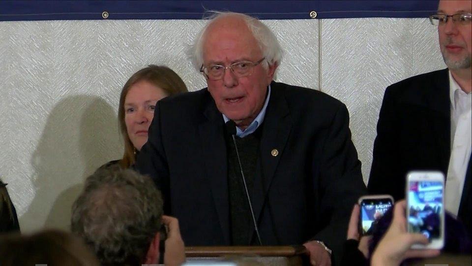 In his victory speech, Vermont Senator Bernie Sanders attacked President Trump