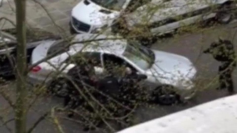 Footage shot from a nearby building showed armed police removing the car's driver