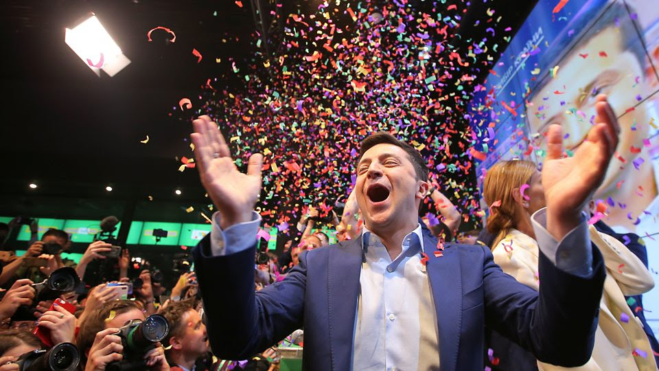 Volodymyr Zelensky and his supporters celebrate winning Ukraine's presidential election