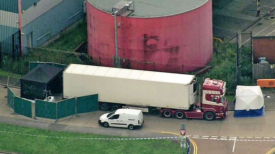 Aerial footage shows police activity around the lorry where the bodies were found