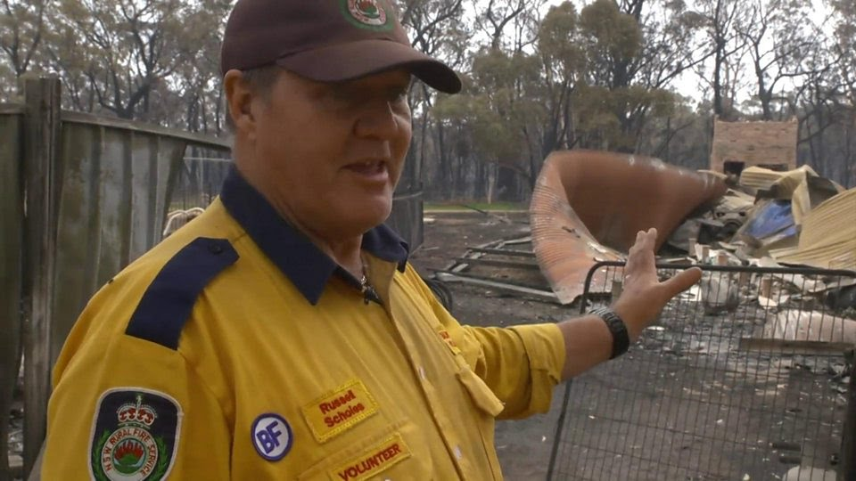 Russell Scholes's home in New South Wales was destroyed by bushfires