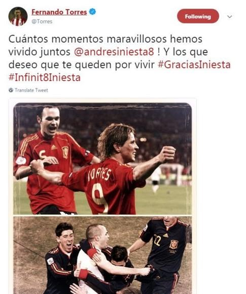 Fernando Torres pays tribute to Andres Iniesta