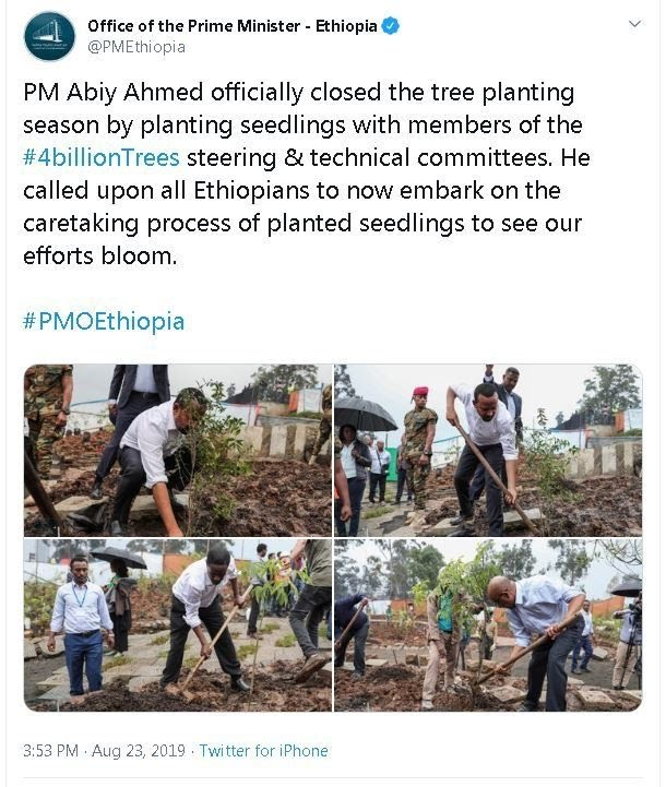 Ethiopia's prime minister tweet about tree planting