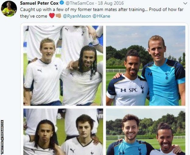 Sam Cox tweet of pictures of him with Harry Kane and Ryan Mason