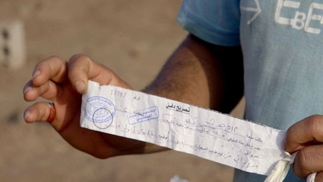 Slips of paper to show who has been buried