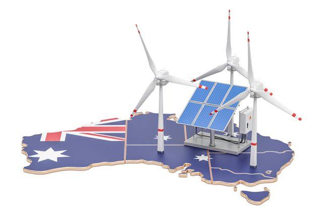 Render 3D de mapa de Australia con paneles solares y molinos de viento.