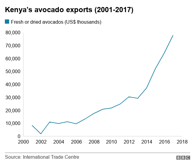 A graph showing the growth in Kenya's avocado exports since 2011