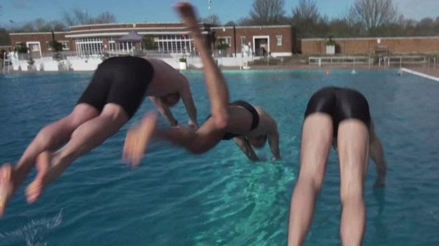 Diving into a pool