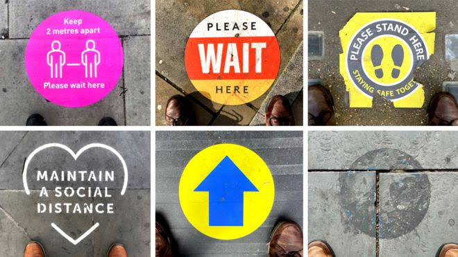 A composite of social distancing signs on the ground