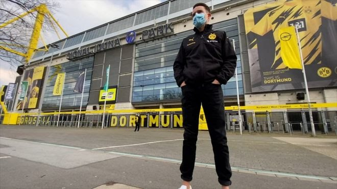 Borussia Dortmund fan outside Signal Iduna Park