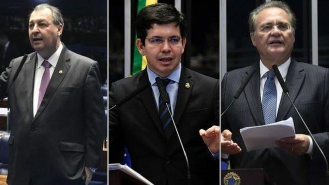 Os senadores Omar Aziz (PSD-AM), Randolfe Rodrigues (Rede-AP) e Renan Calheiros (MDB-AM)