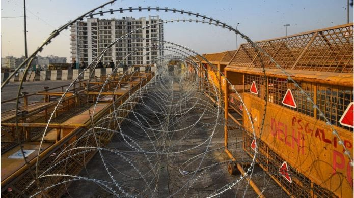 Barbed wire outside new delhi to keep out farmers protest