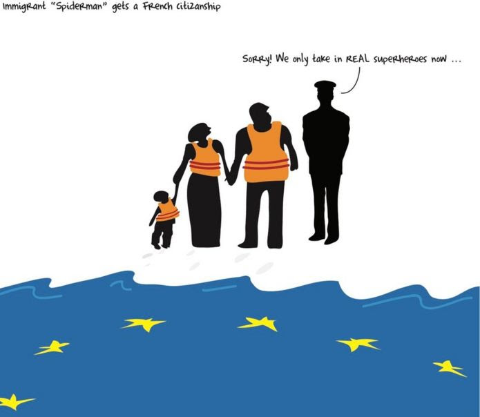 A cartoon showing migrants at the sea being stopped by a guard saying Europe only takes superheroes now