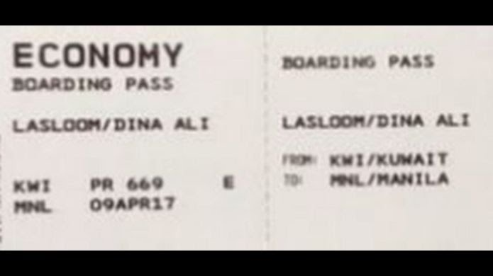 Boarding pass from Dina Ali Lasloom