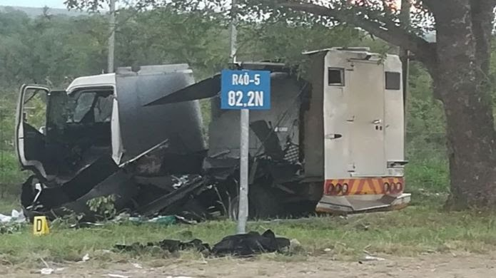 A blown out van in South Africa