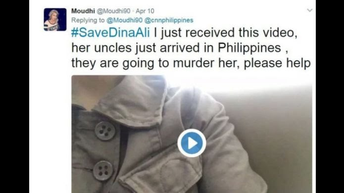 Moudi Aljohani tweets out about Dina Ali's case