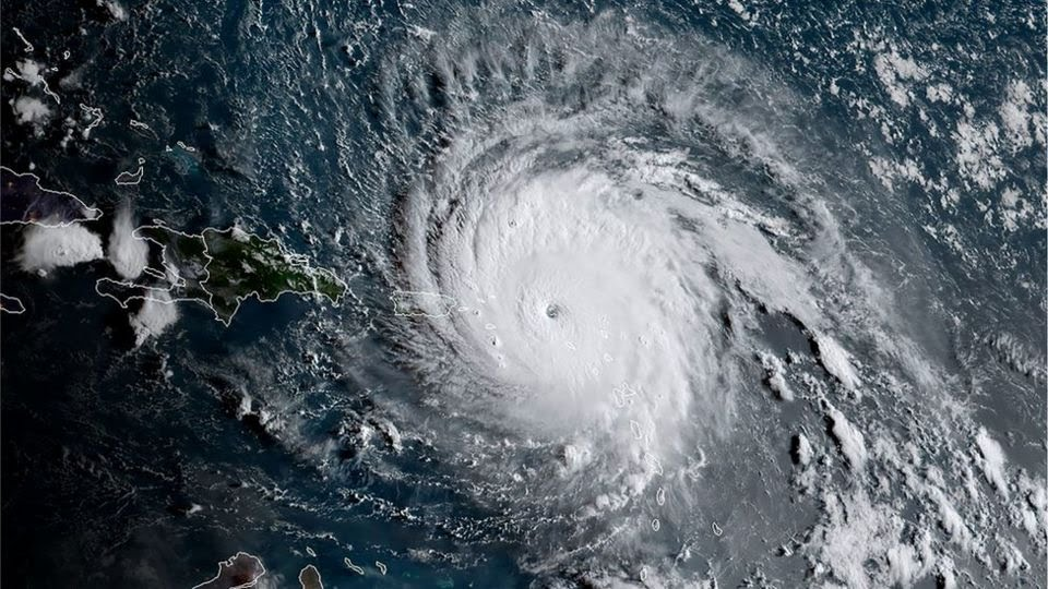 This satellite image obtained from the National Oceanic and Atmospheric Administration (NOAA) shows Hurricane Irma at 11:30 GMT on 6 September