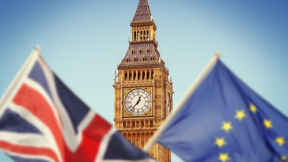 The Union Jack flag and the EU flag in front of Big Ben