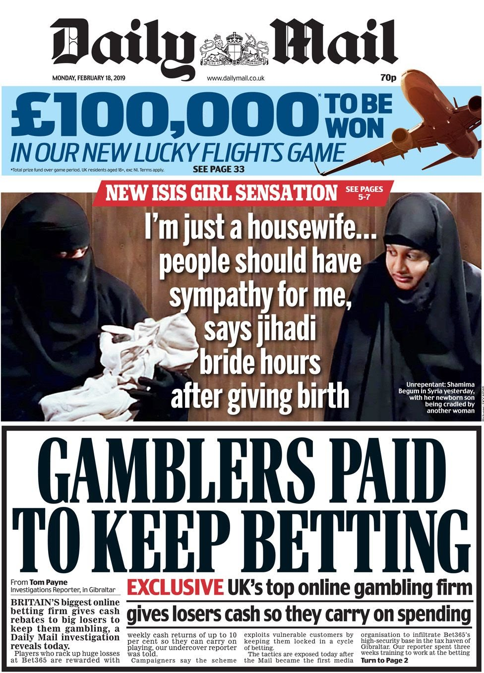The Daily Mail front page on 18 February 2019
