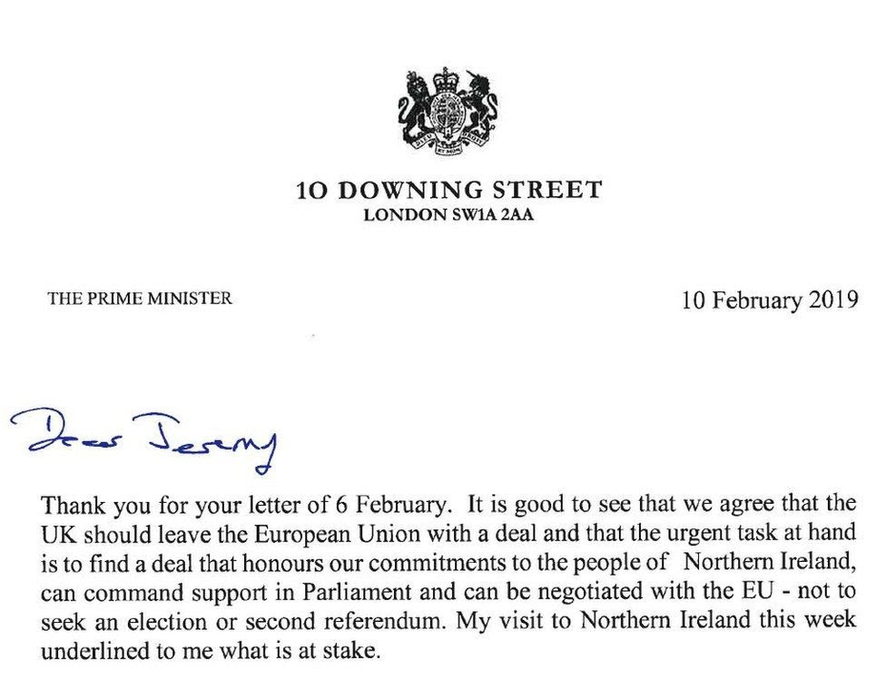The letter from Theresa May to Jeremy Corbyn