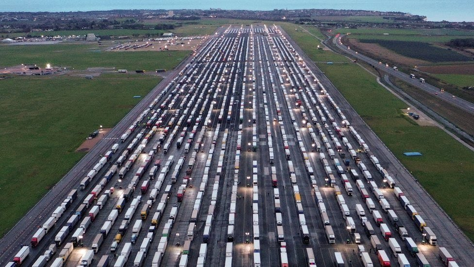 Lorries parked up at Manston Airport in Kent on Tuesday night
