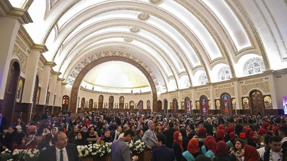 Christian worshippers attend the inauguration of a massive cathedral in Egypt's New Administrative Capital on January 6, 2019
