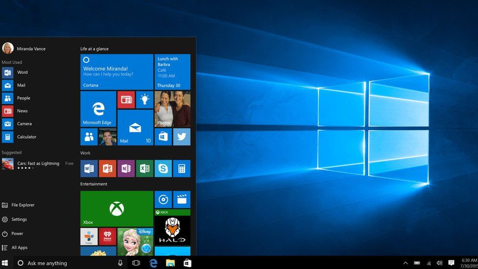 Pantalla inicial de Microsoft 10