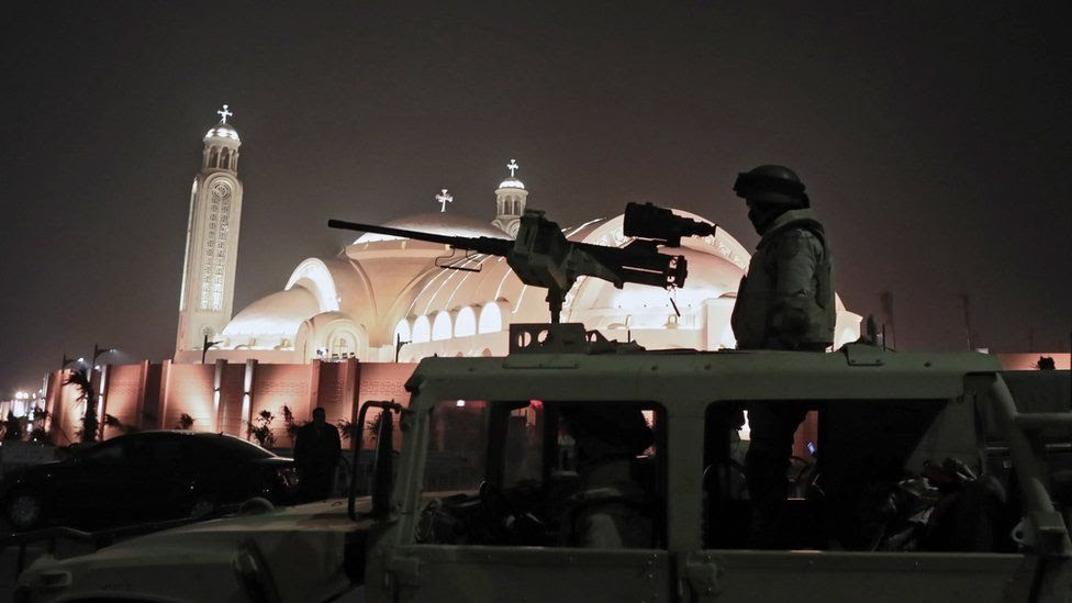 Egyptian army guards outside the newly inaugurated Cathedral of Nativity in the New Administrative Capital