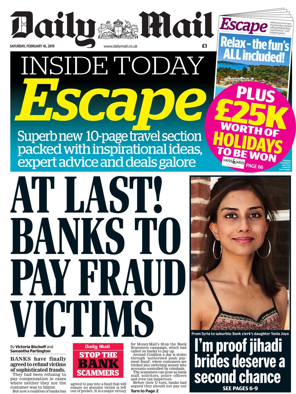 Daily Mail front page 16 February 2019