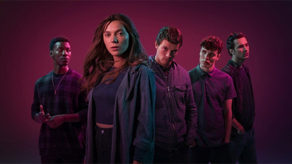 Aubrey (JYUDDAH JAYMES), Holly (SYNNØVE KARLSEN), Jack (LEO SUTER), Calum (NICHOLAS NUNN), Barney (BARNEY HARRIS)