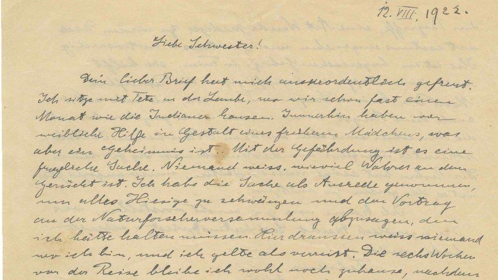 Início da carta manuscrita de Albert Einstein