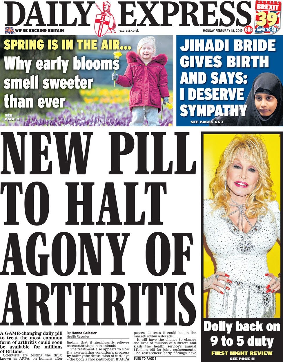 The Daily Express front page on 18 February 2019