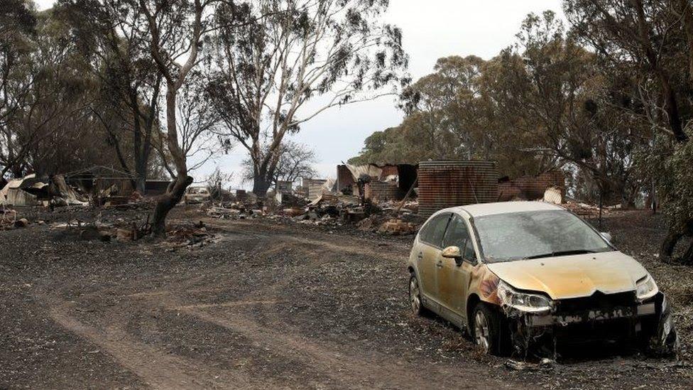Una propiedad quemada en Woodside, Nueva Gales del Sur