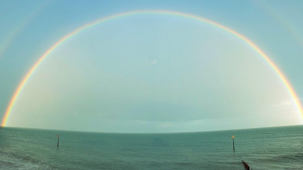 Double rainbow over the sea in Teignmouth, Devon