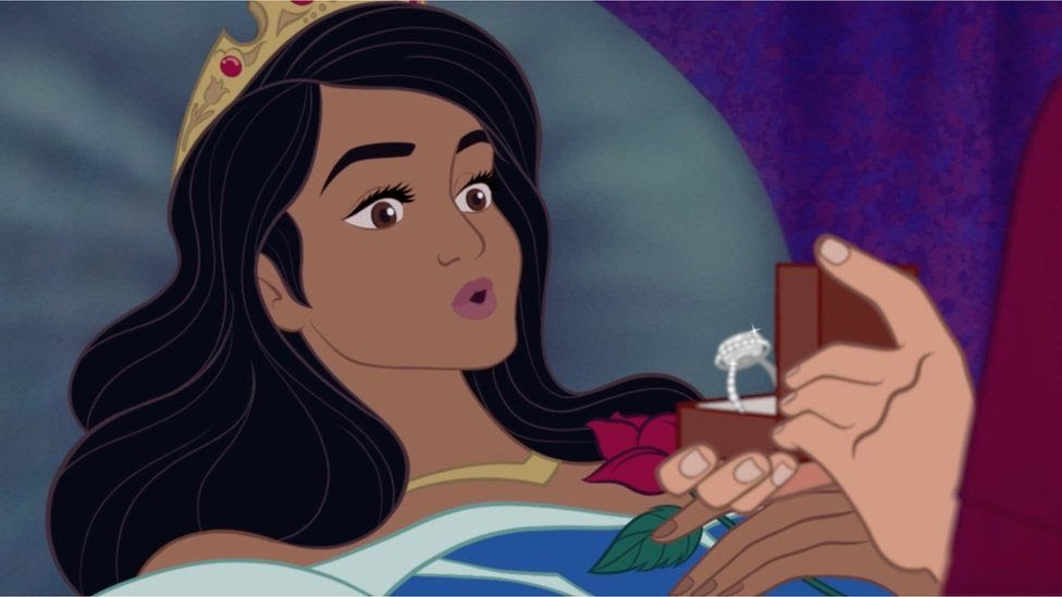 Cartoon of Sleeping beauty with an engagement ring