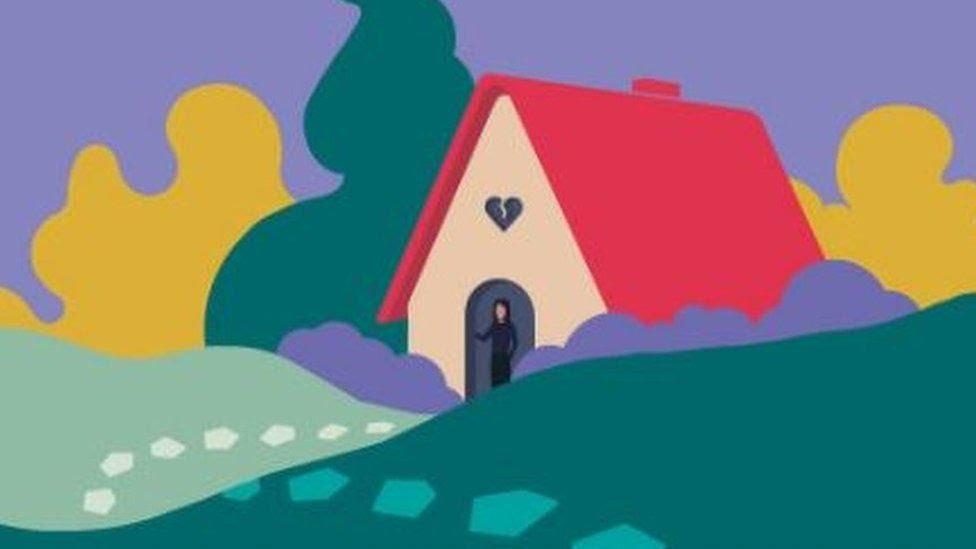 আঁকা ছবিতে একজন নারী ঘরের বাইরে দাঁড়িয়ে অপেক্ষা করছেন