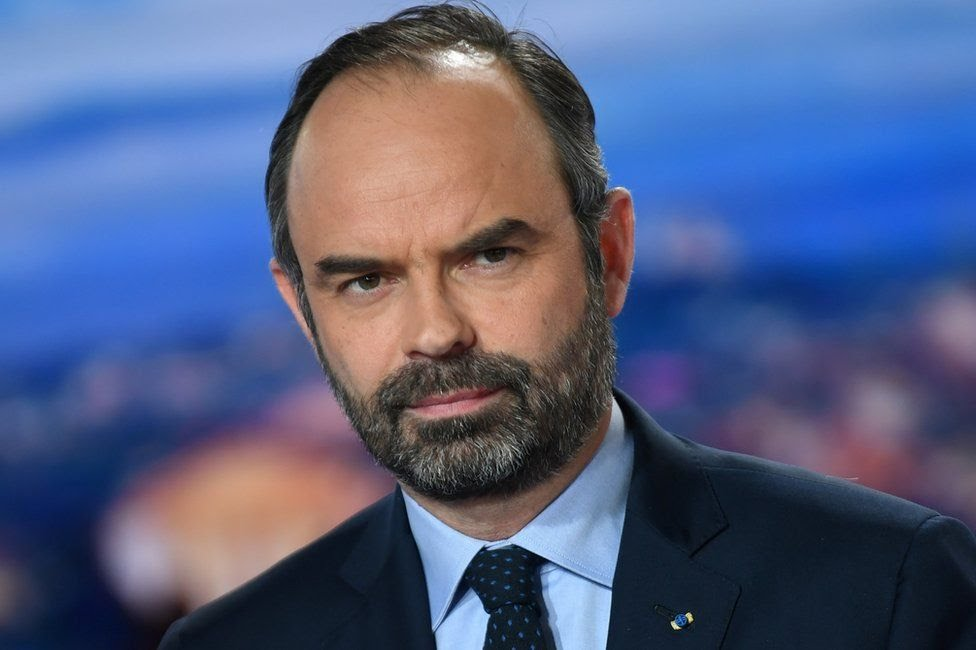 French Prime Minister Edouard Philippe poses at the French TV channel TF1 studios, 7 January
