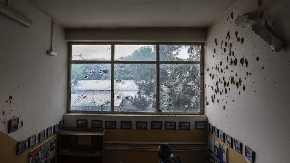 A view of bullet ridden window and walls of MSF (Doctors without Borders) hospital, after an attack in Kabul, Afghanistan