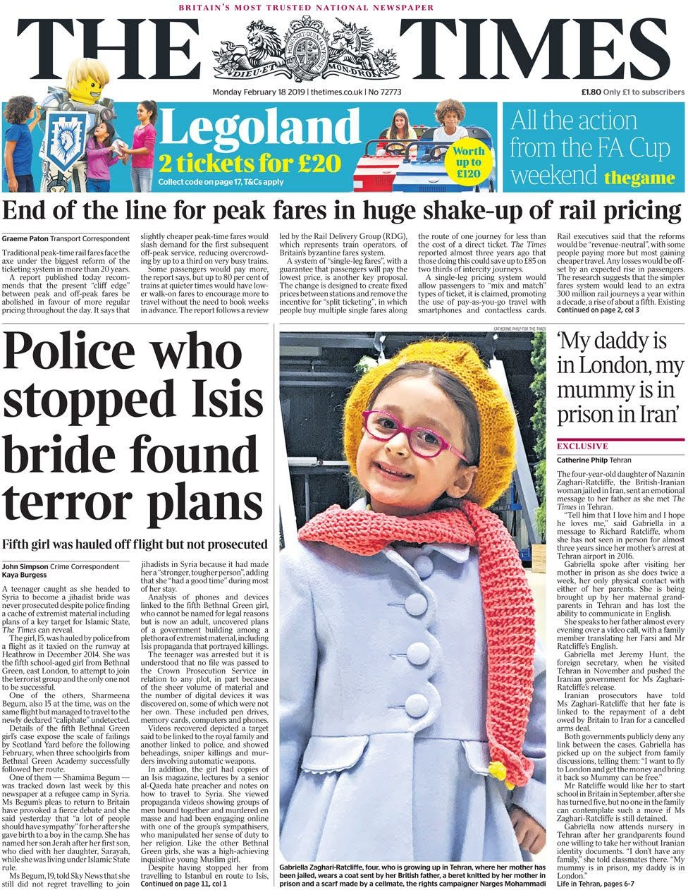 The Times front page 18 February 2019