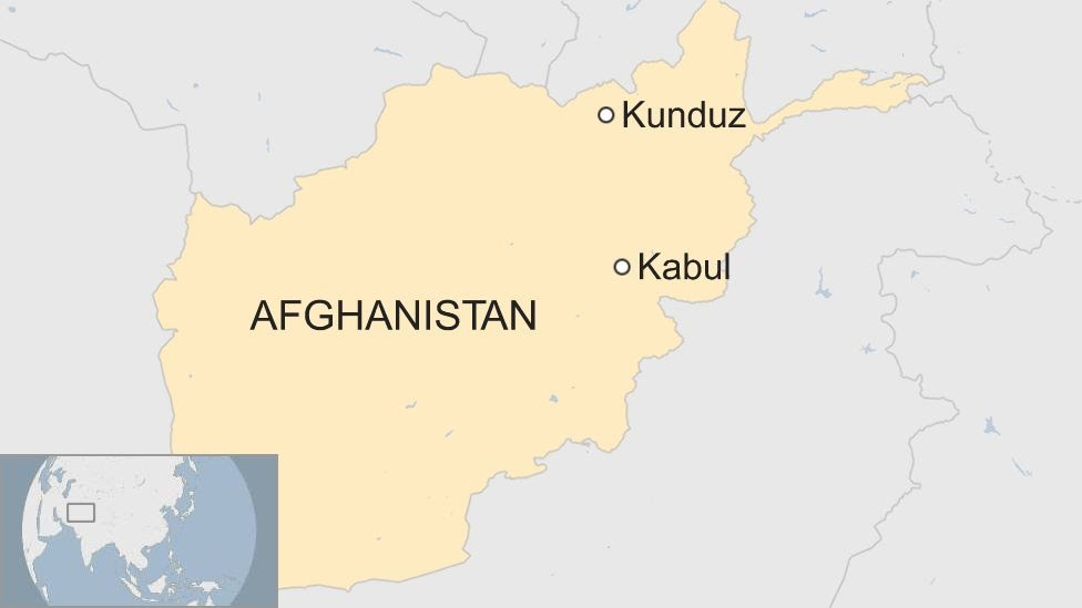 A map showing where Kunduz is in Afghanistan