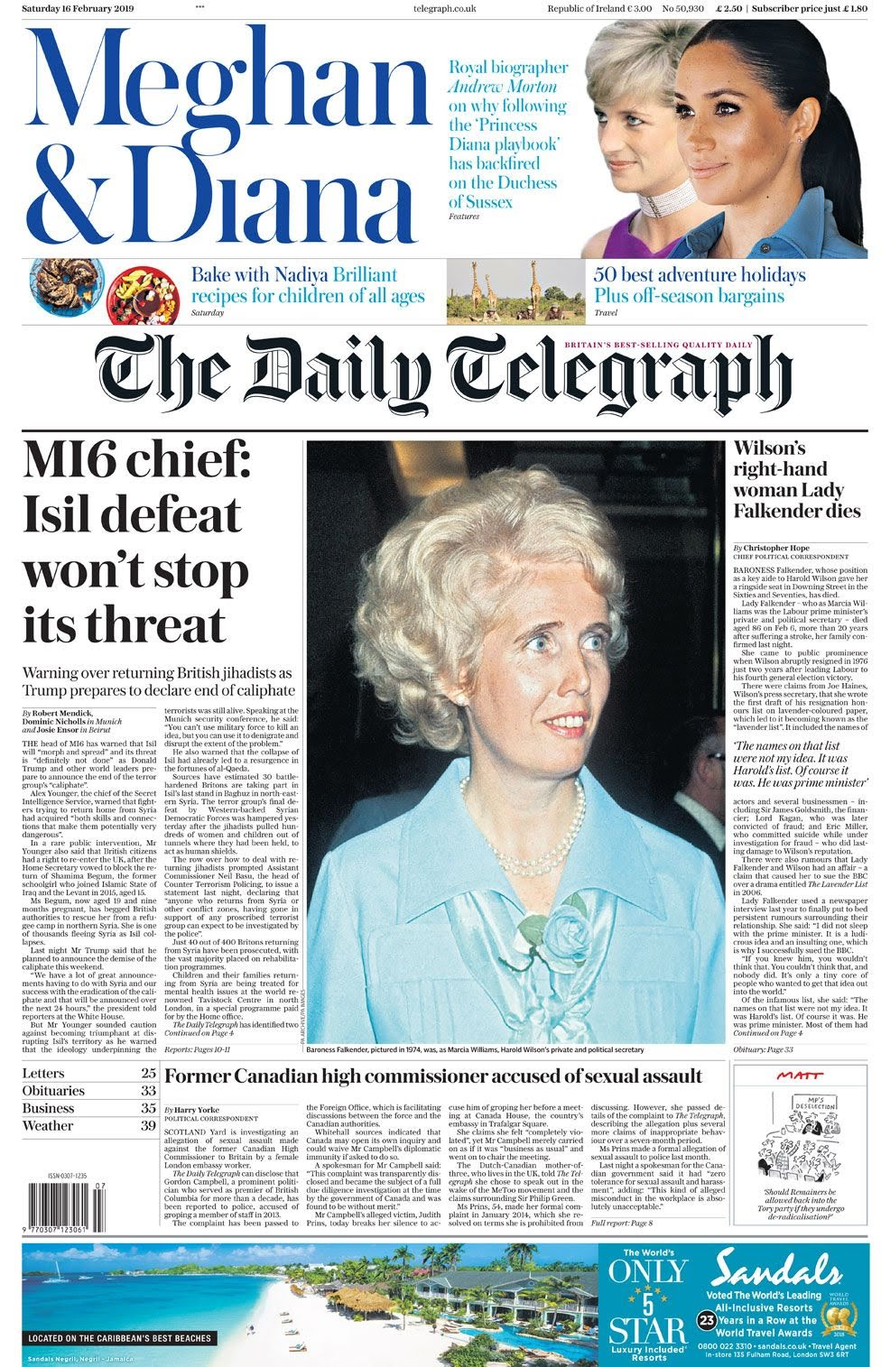 The Daily Telegraph front page on 16 February 2019
