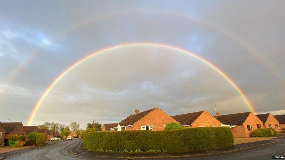 Double rainbow over Hanthorpe in Lincolnshire