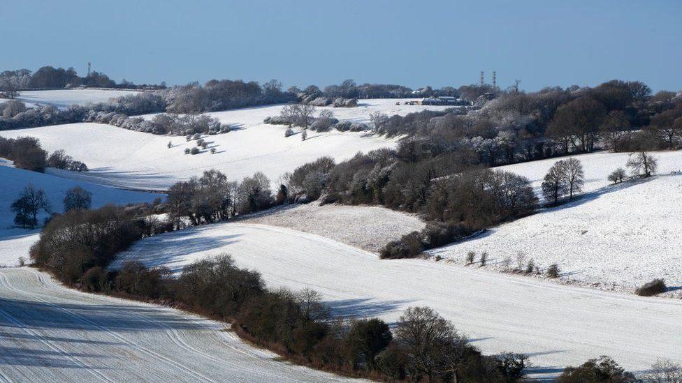 A light dusting of snow covers hillsides near Biggin Hill Airport on January 30, 2019 near Biggin Hill, United Kingdom.