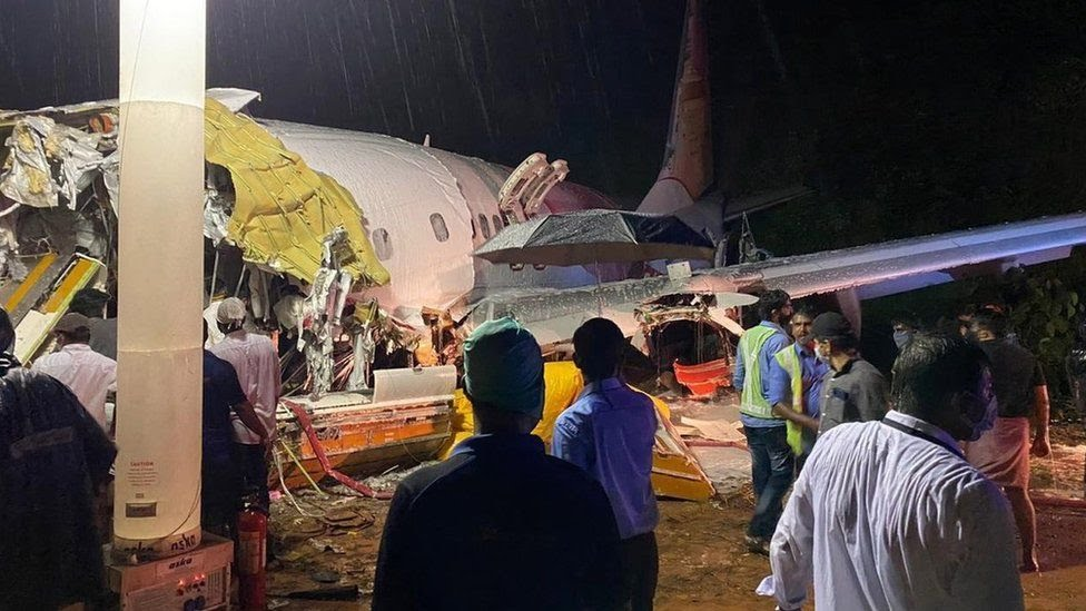 Indian Civil Defence handout photo shoes the wreckage of Flight IX 1134 at Calicut airport (7 August 2020)