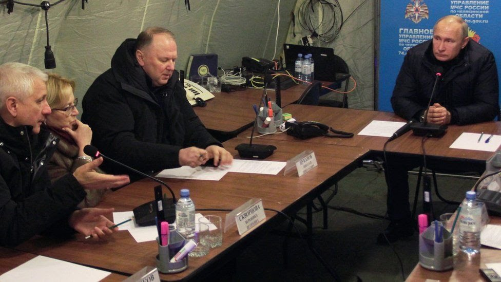Russian President Vladimir Putin chairing a meeting in Magnitogorsk after an explosion in a block of flats