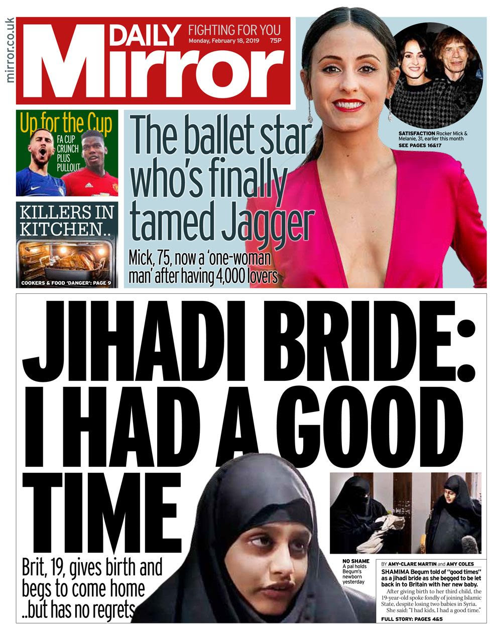 The Daily Mirror front page on 18 February 2019