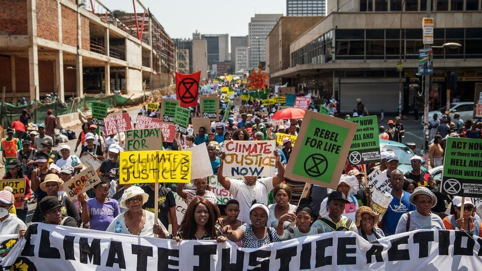 Protesters rally against climate change as part of a Global Climate action day in Johannesburg in South Africa - 20 September 2019