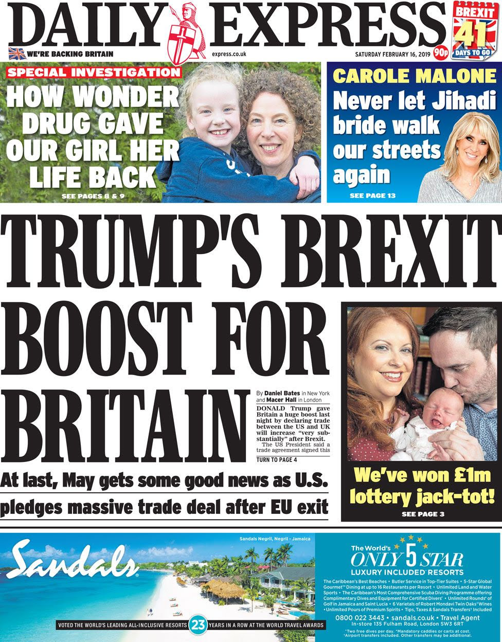 Daily Express front page on 16 February 2019