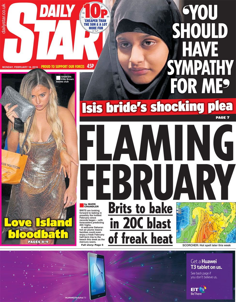 The Daily Star front page on 18 February