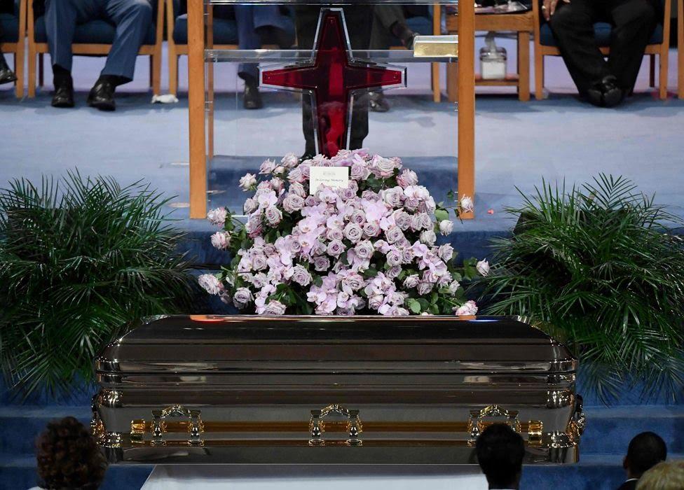Aretha Franklin's casket